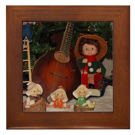 Mandolin Around the Christmas Tree Framed Tile