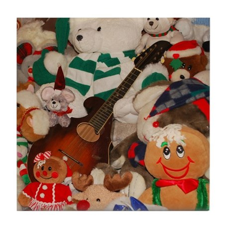 Mandolin and Christmas Bears Tile Coaster