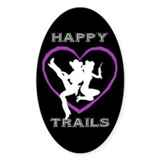 """""""Happy Trails Lesbians"""" Oval Decal"""