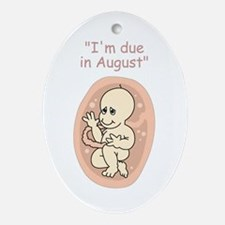 Due in August baby cartoon Oval Ornament