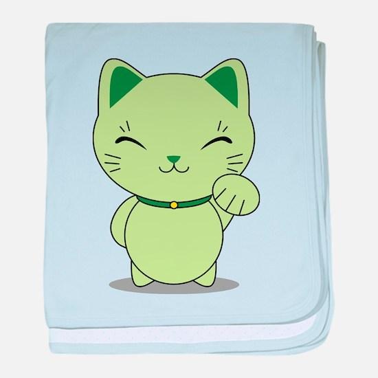 Maneki Neko - Green Lucky Cat baby blanket