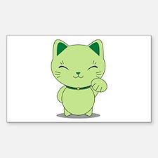 Maneki Neko - Green Lucky Cat Decal