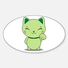 Maneki Neko - Green Lucky Cat Decal