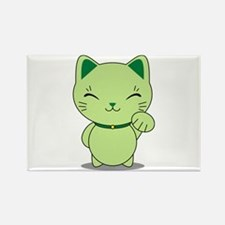 Maneki Neko - Green Lucky Cat Rectangle Magnet
