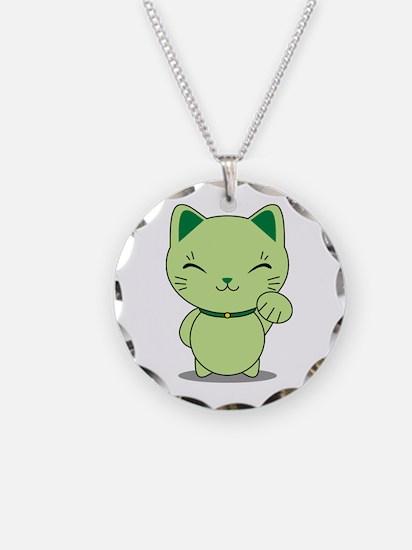 Maneki Neko - Green Lucky Cat Necklace