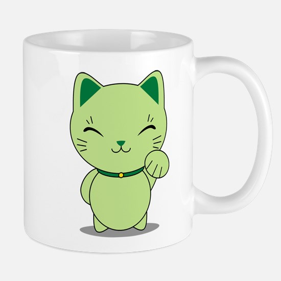 Maneki Neko - Green Lucky Cat Mug