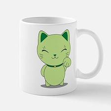 Maneki Neko - Green Lucky Cat Small Small Mug