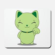 Maneki Neko - Green Lucky Cat Mousepad