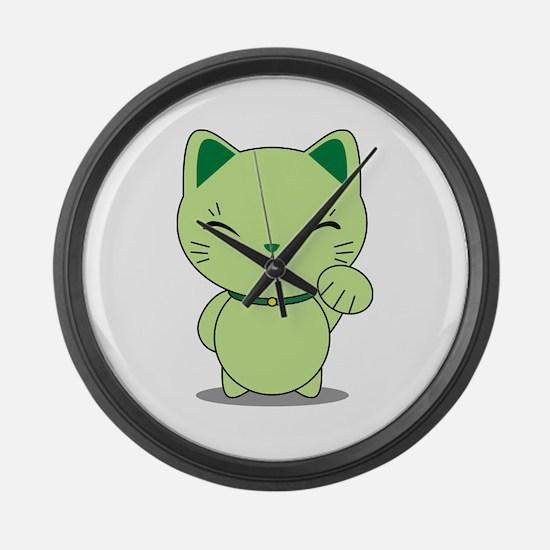 Maneki Neko - Green Lucky Cat Large Wall Clock