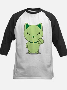 Maneki Neko - Green Lucky Cat Kids Baseball Jersey