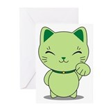 Maneki neko green lucky cat Greeting Cards (10 Pack)