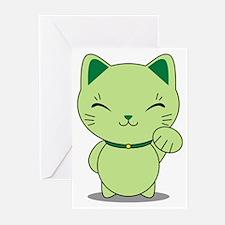Maneki Neko - Green Lucky Cat Greeting Cards (Pk o