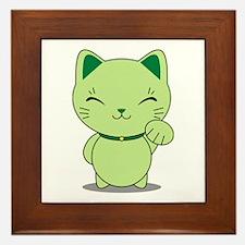 Maneki Neko - Green Lucky Cat Framed Tile