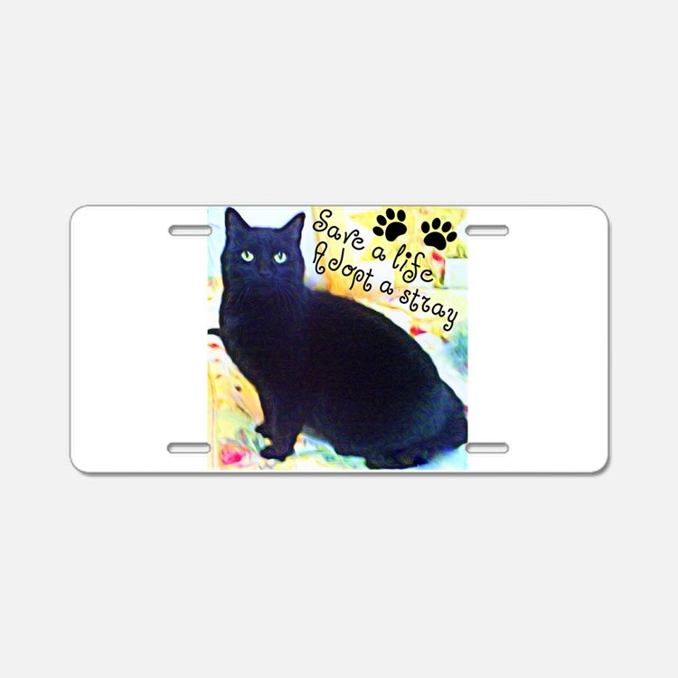 Stray Black Kitty Aluminum License Plate