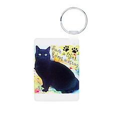 Stray Black Kitty Keychains