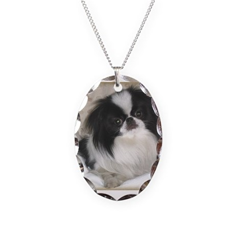 Deluxe Japanese Chin Darling Necklace Oval Charm