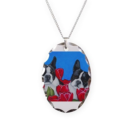Boston Terriers & Tulips Necklace Oval Charm