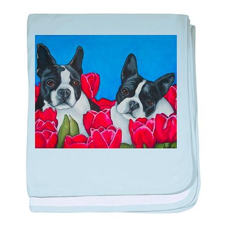 Boston Terriers & Tulips baby blanket