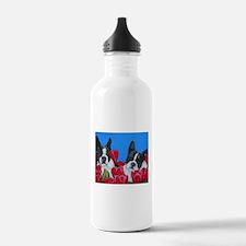 Boston Terriers & Tulips Water Bottle