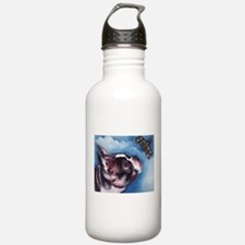 Boston Terrier and Dragonfly Water Bottle