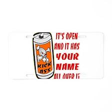 Open Can Of Kick Ass Aluminum License Plate