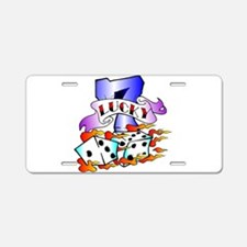 Lucky 7 Dice Tattoo Aluminum License Plate