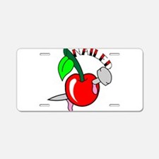 Tattoo Cherry Nailed Aluminum License Plate