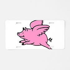 Flying Pig Aluminum License Plate