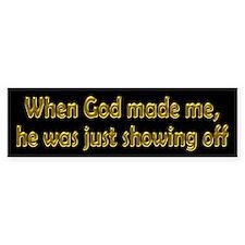 God Showing Off Car Sticker