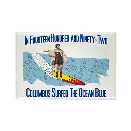 Columbus Surfed Rectangle Magnet
