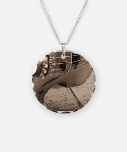 Violin Sepia Necklace Circle Charm