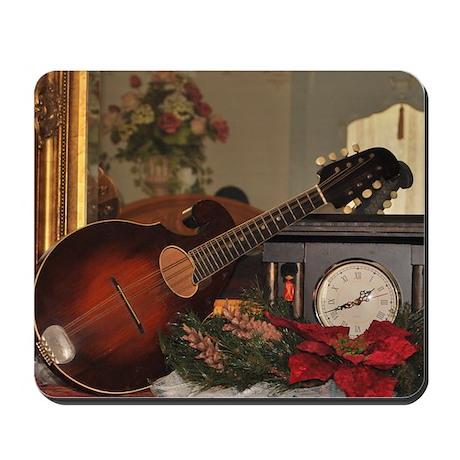 Christmas Mandolin on Clock Mousepad