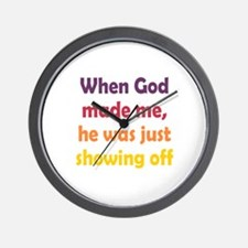 God Showing Off Wall Clock