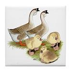 Buff African Goose Family Tile Coaster