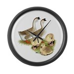 Buff African Goose Family Large Wall Clock