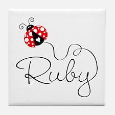Ladybug Ruby Tile Coaster