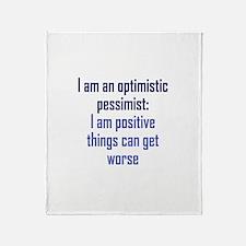 Optimistic Pessimist Throw Blanket