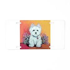 West Highland White Portrait Aluminum License Plat