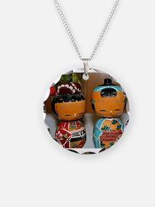 Kokeshi Dolls Necklace Circle Charm