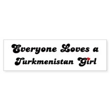 Loves Turkmenistan Girl Bumper Bumper Sticker