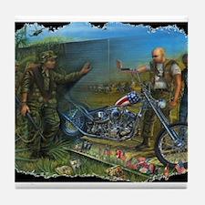 BIKER AT WALL Tile Coaster