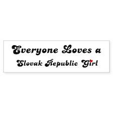 Loves Slovak Republic Girl Bumper Bumper Sticker