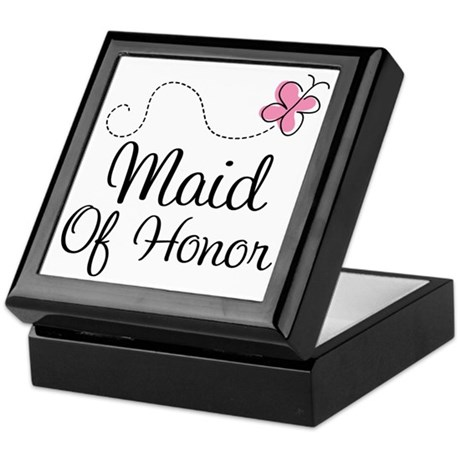 Maid Of Honor Butterfly Keepsake Box