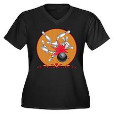 Bowling Women's Plus Size V-Neck Dark T-Shirt