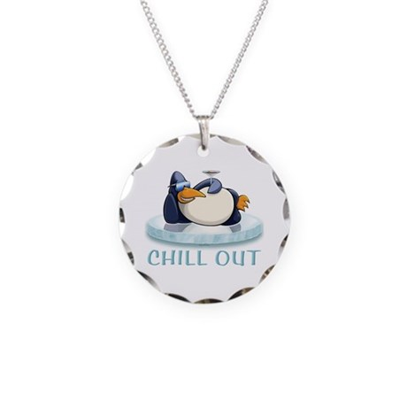 Chill Out Penguin Necklace Circle Charm