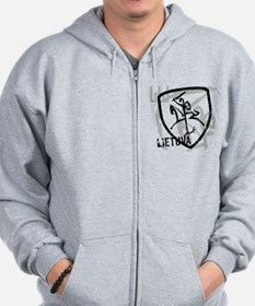 Distressed Vytis and Lietuva Zip Hoodie