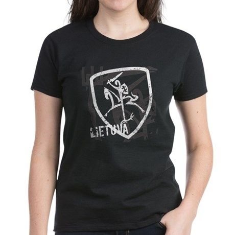 Distressed Vytis and Lietuva Women's Dark T-Shirt