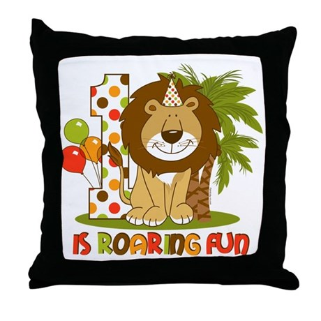 Cute Lion 1st Birthday Throw Pillow