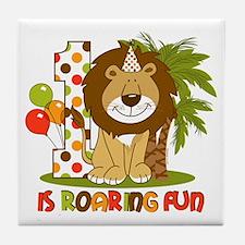 Cute Lion 1st Birthday Tile Coaster