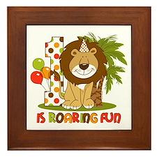 Cute Lion 1st Birthday Framed Tile